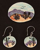 Landscape dangle earrings, pin